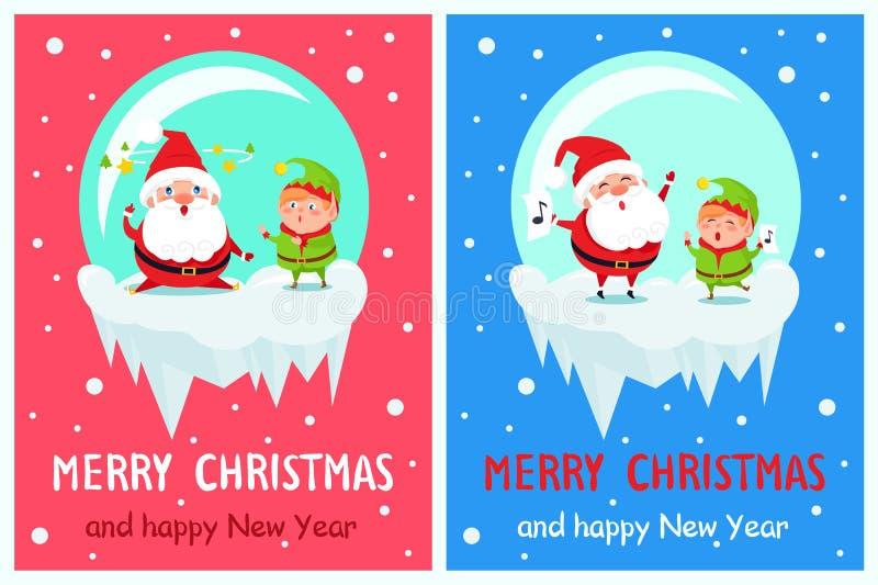 Pocztówkowy Wesoło bożych narodzeń nowego roku Santa Szczęśliwy elf ilustracji