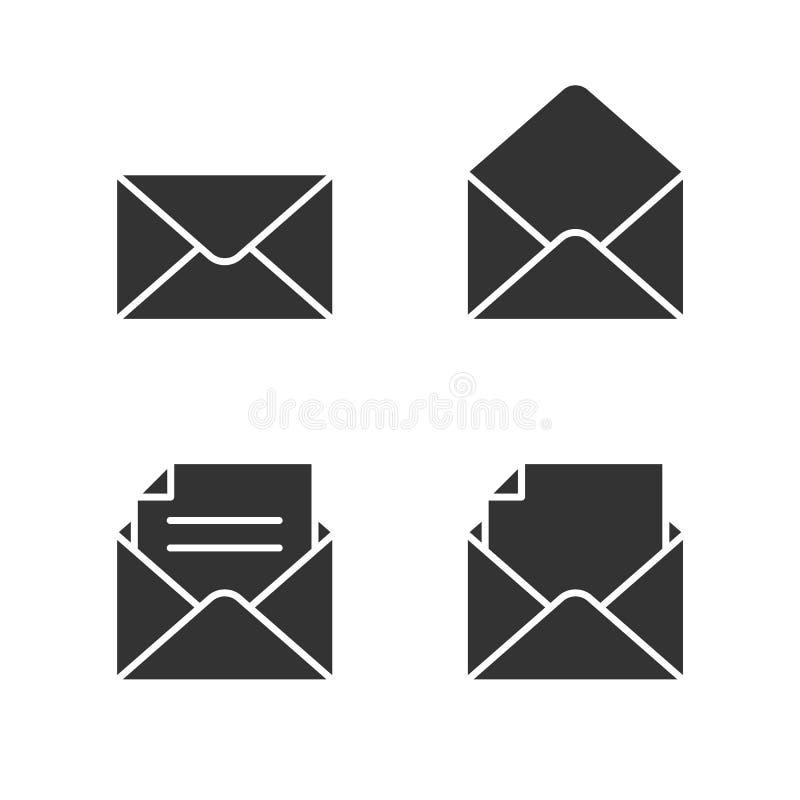 Poczt czarne ikony ustawiać na bielu ilustracja wektor