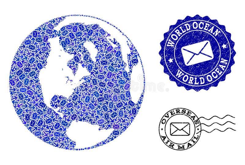 Poczt droga przemian kola? mozaiki mapa Globalny ocean i Drapaj?cy znaczki ilustracji