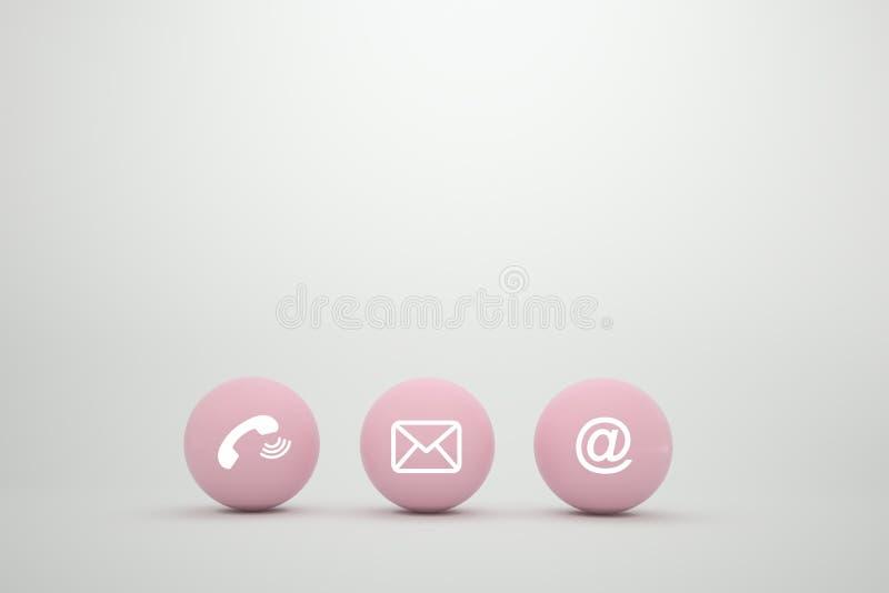 Poczt ikon sfery symbolu różowy telefon, poczta, adres i telefon komórkowy, Kontaktowy metody pojęcie na strony internetowej stro ilustracji