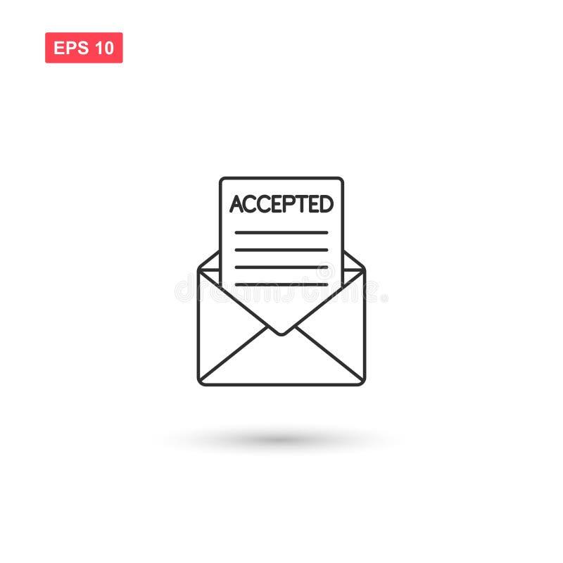 Poczta akceptujący wektor odizolowywający ilustracji