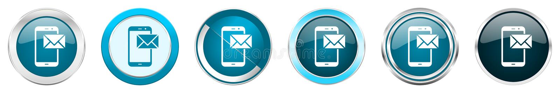 Poczta chromu granicy srebne kruszcowe ikony w 6 opcjach, set sieci round błękitni guziki odizolowywający na białym tle ilustracji