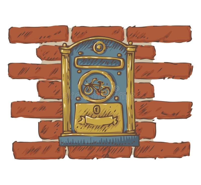 poczta dostawa Błękitna Retro skrzynka pocztowa na Czerwonym ściana z cegieł ilustracji