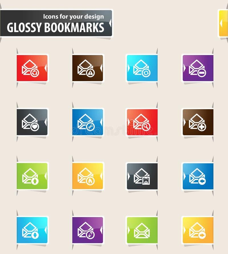Poczta i koperty Bookmark ikony ilustracja wektor