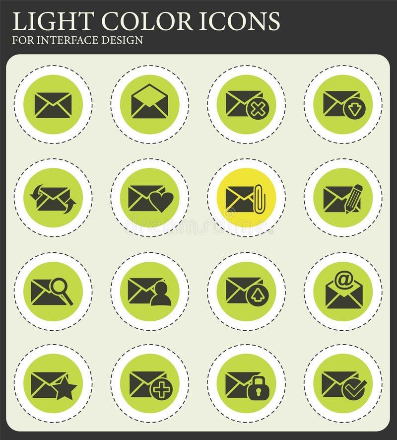 Poczta i koperty ikony set ilustracji