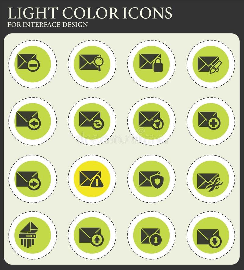 Poczta i koperty ikony ustawia? ilustracji