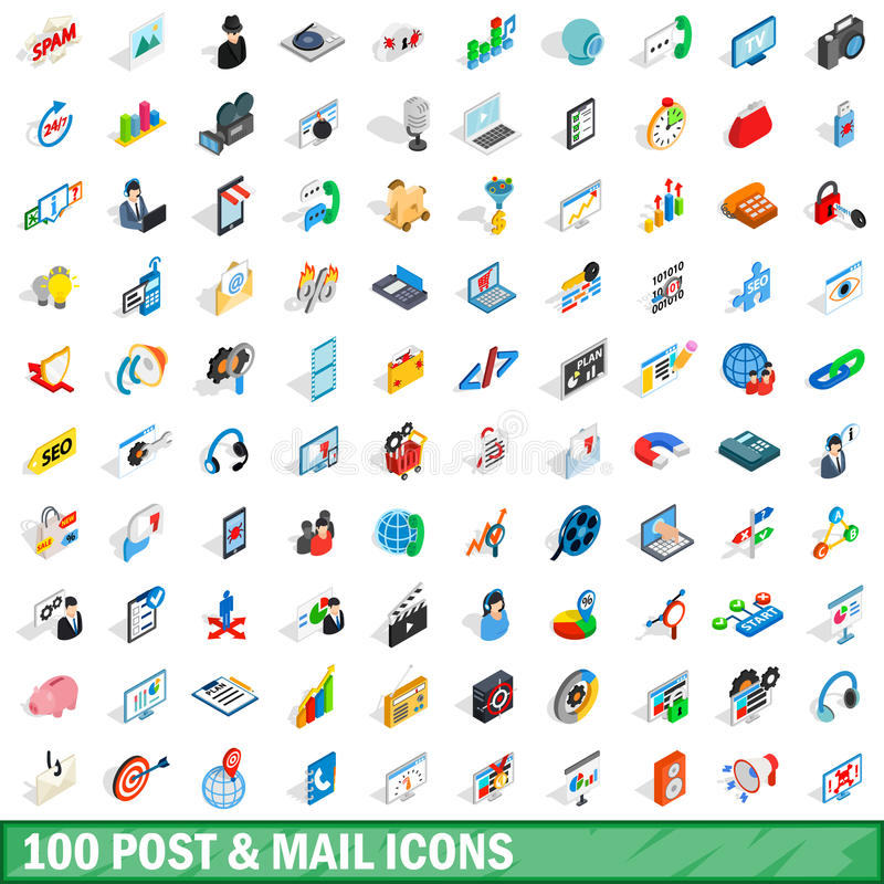 100 poczta i poczta ikon ustawiających, isometric 3d styl ilustracji