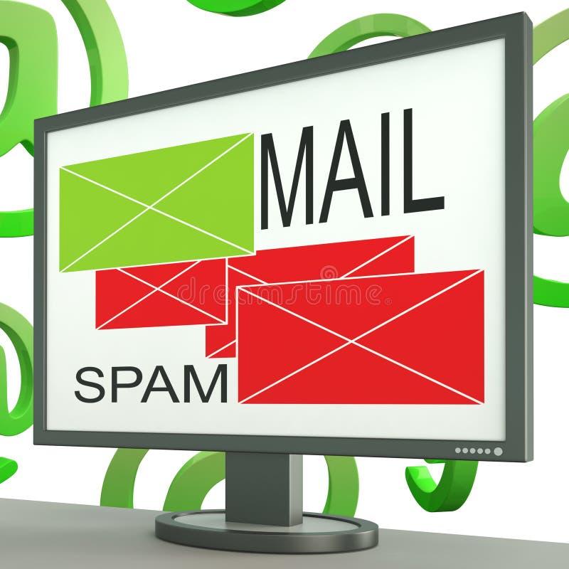 Poczta I spama koperty Na monitorów przedstawień Online wiadomościach ilustracji