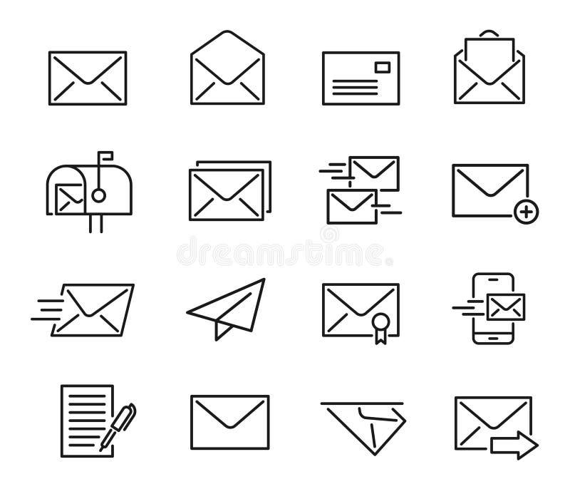 Poczta ikony kreskowy set ilustracja wektor