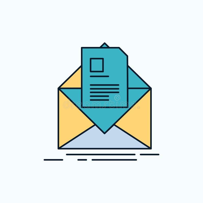 poczta, kontrakt, list, email, informuje Płaską ikonę ziele?, kolor wektor royalty ilustracja