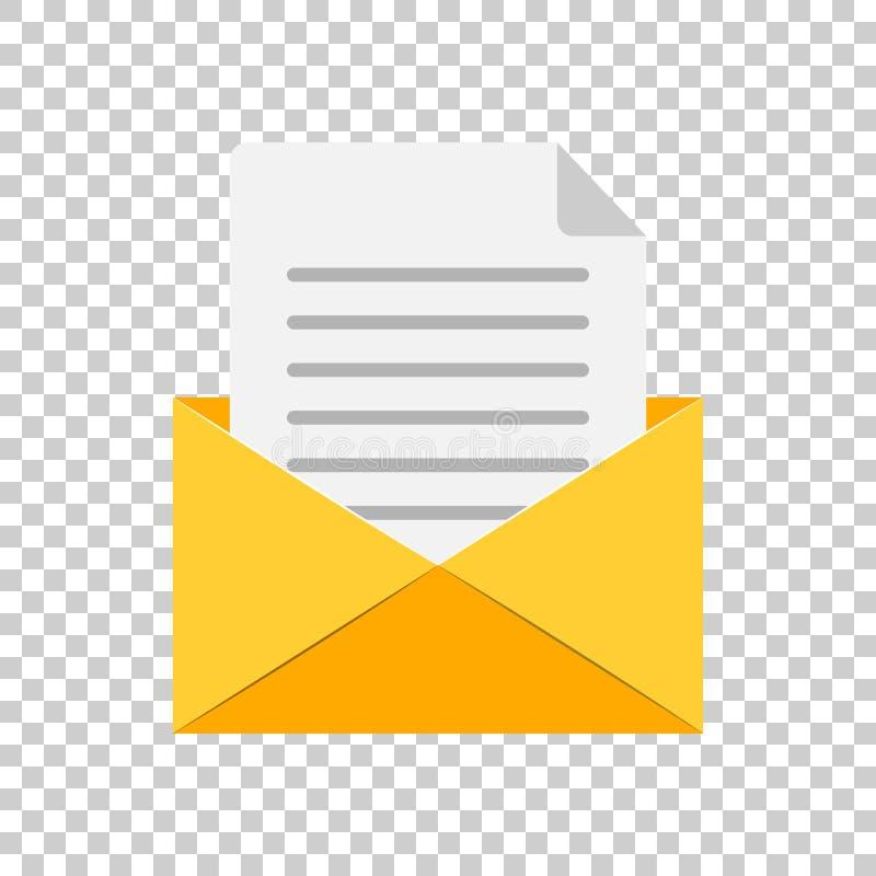 Poczta kopertowa ikona w mieszkanie stylu E-maila wektoru illustrat royalty ilustracja