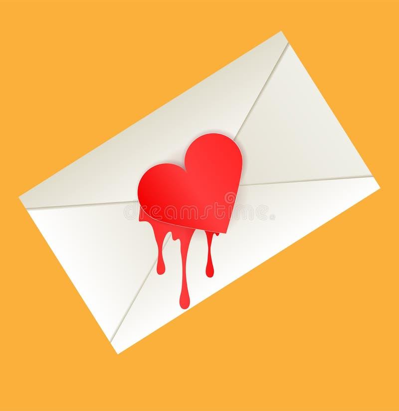 Poczta kopertowy krwawiący serce na pomarańczowym tle ilustracja wektor