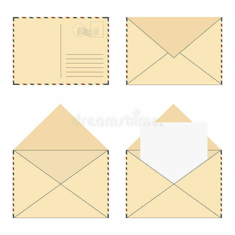 Poczta koperty set Rocznik poczta koperty z znaczkami i puste miejsce listem ilustracja wektor