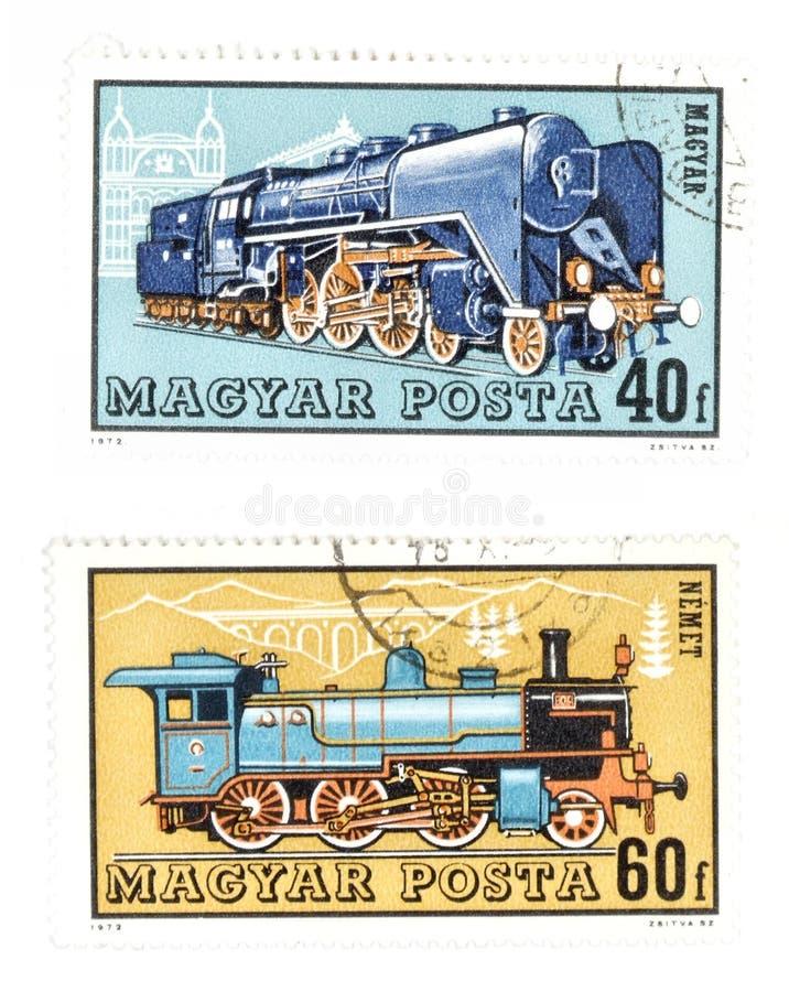 poczta nieaktualnych znaczki pociągów zdjęcia stock