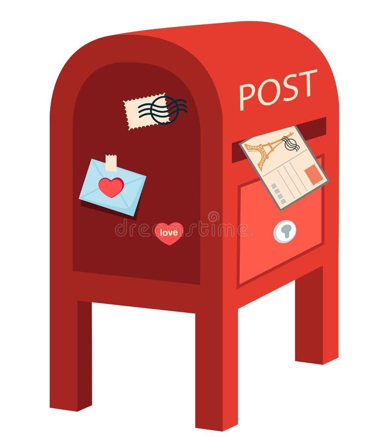 poczta pudełkowata czerwień ilustracja wektor