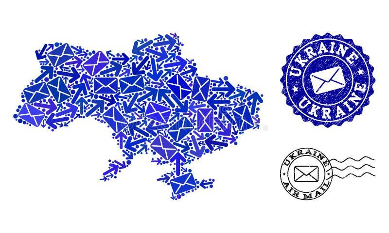 Poczta ruchu drogowego kolaż mozaiki mapa Ukraina i Textured znaczki royalty ilustracja