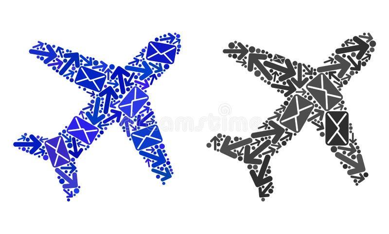Poczta ruchu drogowego mozaiki samolotu ikony ilustracji