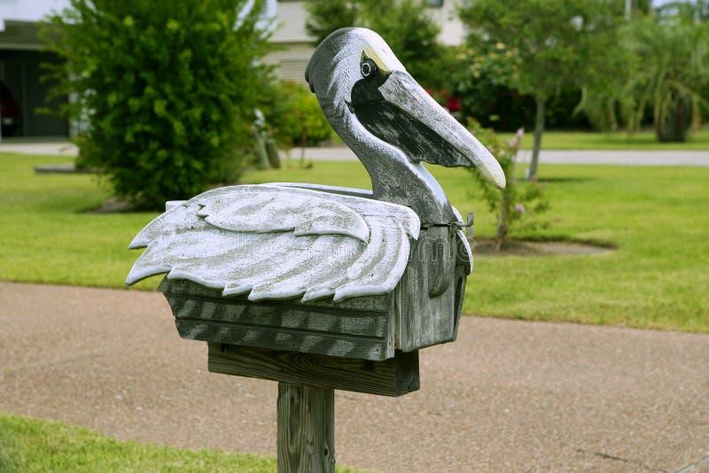 poczta skrzynka pocztowa pelikan poczta Texas drewniany fotografia royalty free