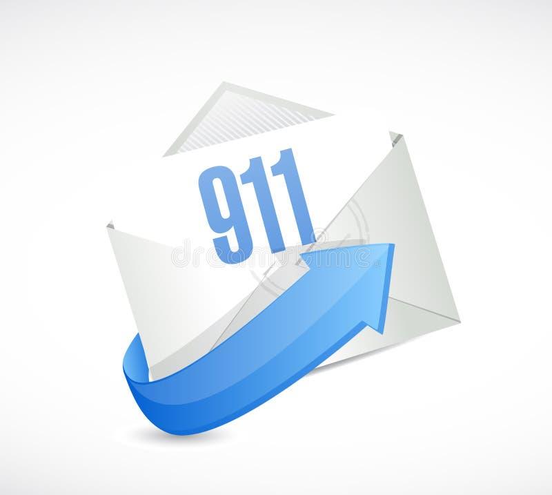 911 poczta szyldowego pojęcia ilustracyjny projekt ilustracja wektor