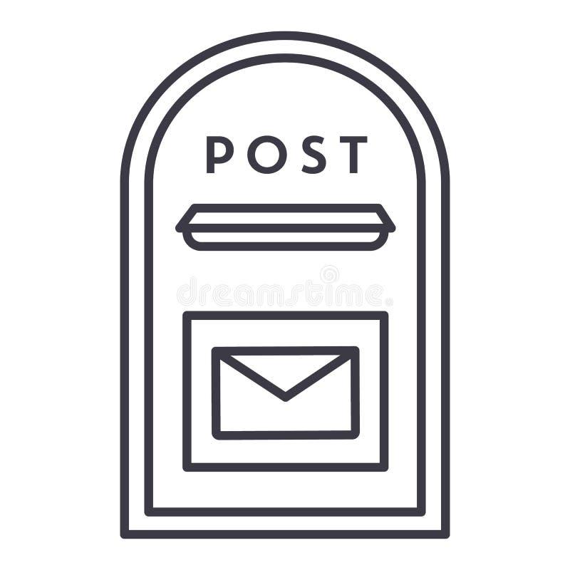 Poczta wektoru linii pudełkowata ikona, znak, ilustracja na tle, editable uderzenia ilustracji