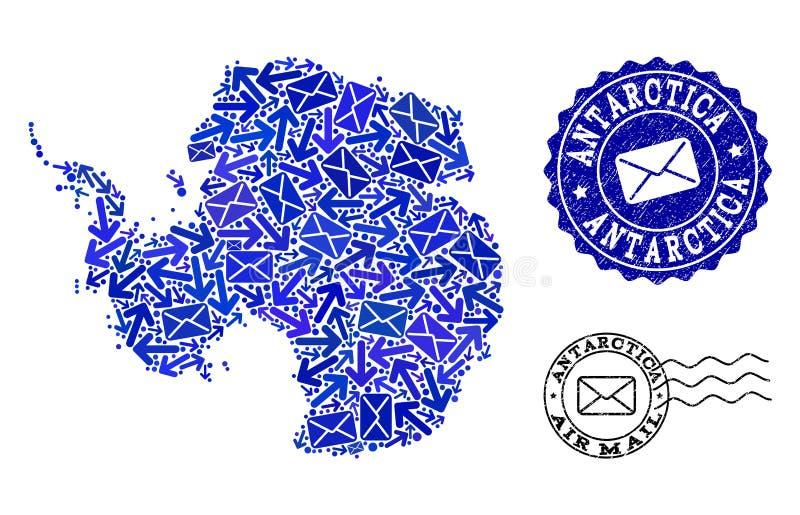Poczta Wysy?a sk?ad mozaiki mapa Antarctica i Grunge foki royalty ilustracja