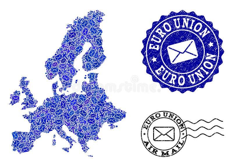 Poczta Wysy?a sk?ad mozaiki mapa Euro zjednoczenia i cierpienia foki royalty ilustracja