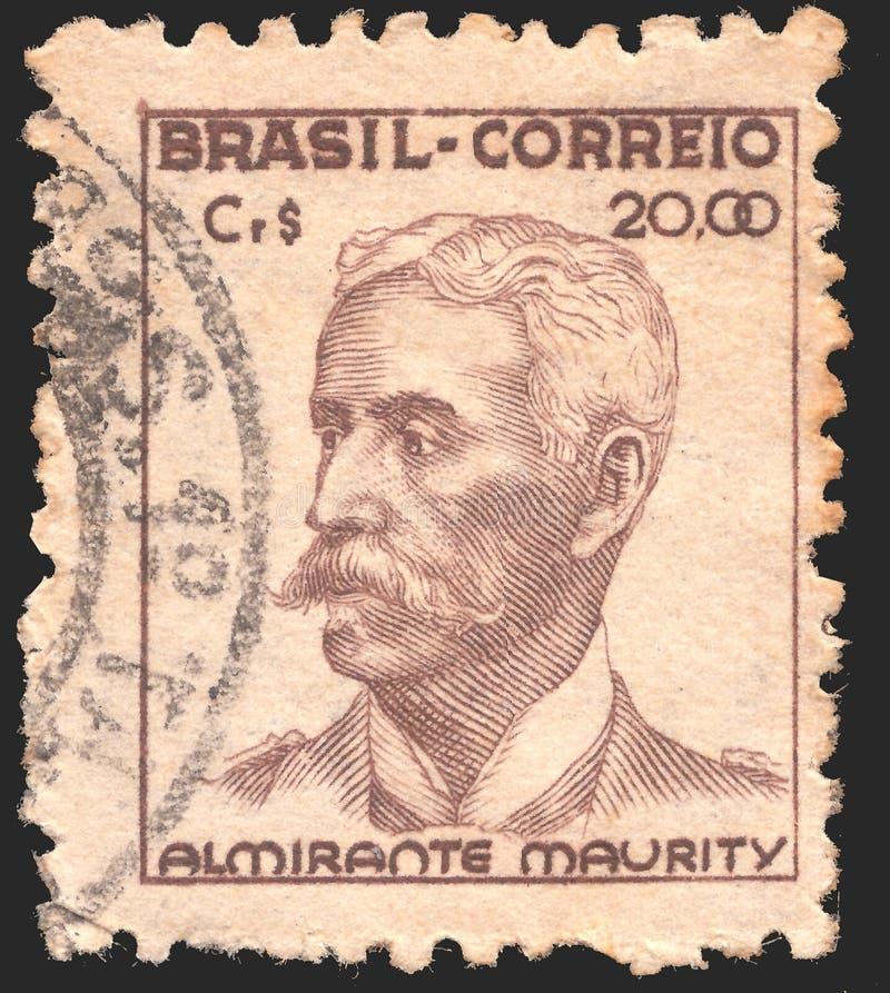 Poczta znaczek drukujący w Brazylia pokazuje Almirante Maurity - oficer wojskowy Około 1946 obraz stock