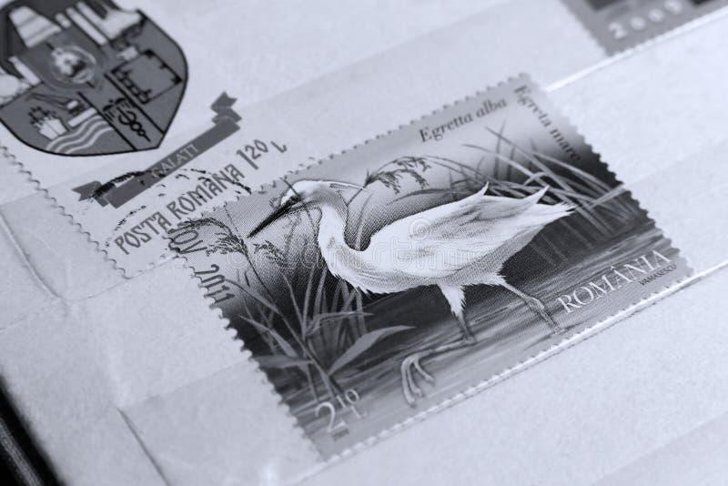 Poczta znaczek Wielki Egret obrazy royalty free
