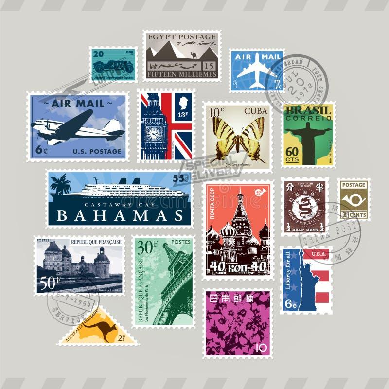 Poczta znaczki ilustracji