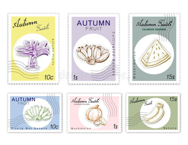 Poczta znaczki Ustawiający jesieni owoc z papier Rżniętą sztuką ilustracji