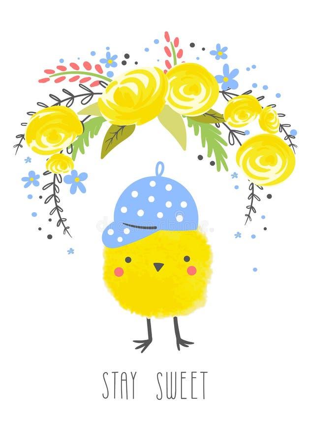 Pocztowa karta z ślicznym kurczakiem royalty ilustracja