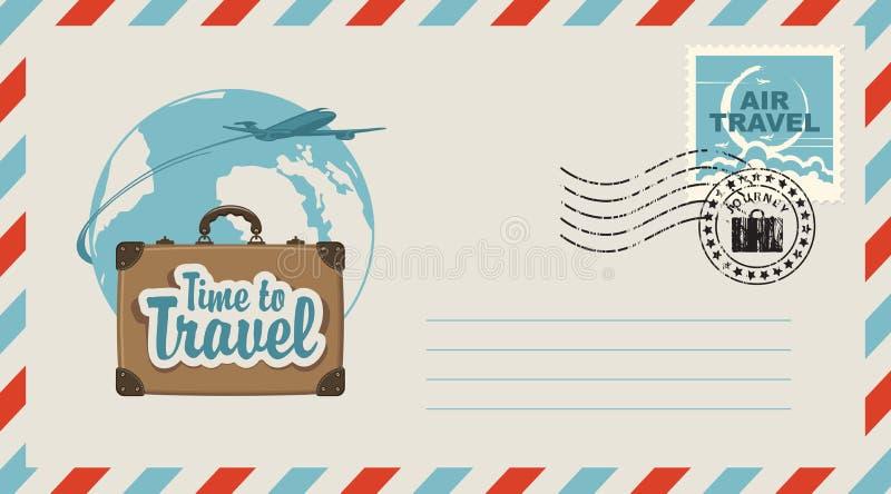 Pocztowa koperta z ilustracją na podróż temacie ilustracja wektor