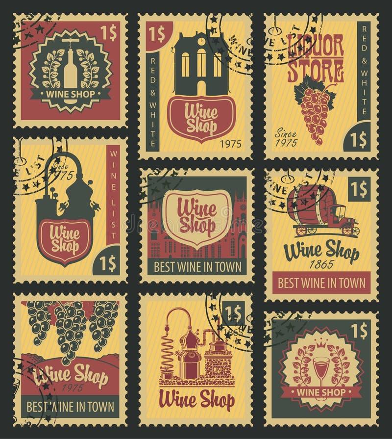 Pocztowi znaczki na temacie wino royalty ilustracja