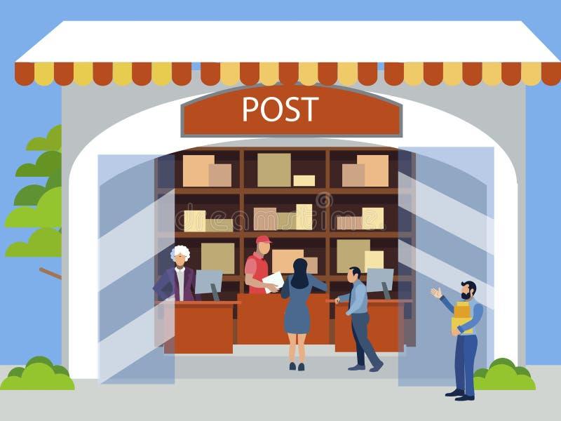 Pocztowy biuro Odbiorczy pocztowi pakuneczki, transporty W minimalisty stylu Kresk?wki mieszkania wektor ilustracja wektor