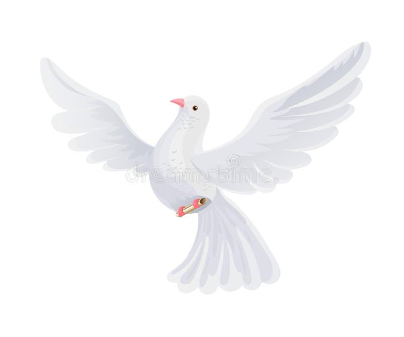 Pocztowy gołąb z listem w kopercie Latający ptak znosi poczty korespondencję ilustracji