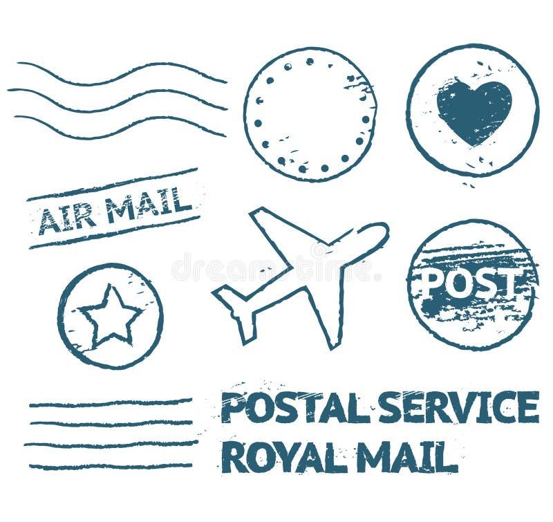 Pocztowy poczta znaczka set ilustracji