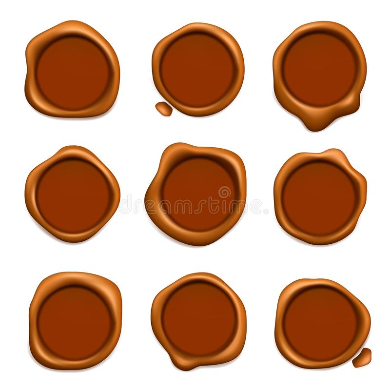 Pocztowy wosku znaczek Gwarancji lub poczty gumowa czerwień nawoskuje znaczek kolekcji realistycznego szablon ilustracja wektor