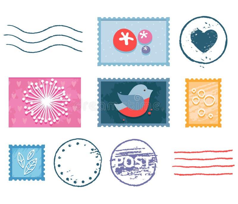 Pocztowy znaczka set ilustracji