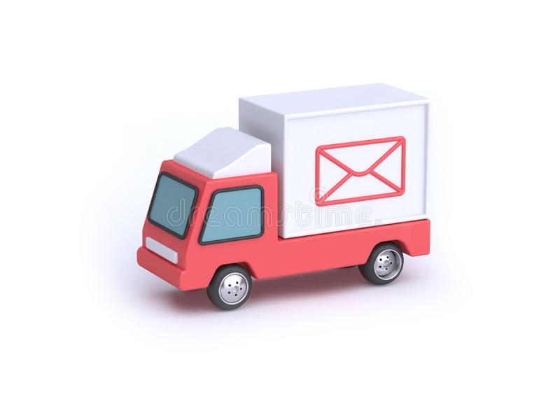Poczty ciężarówki kreskówki stylu tła 3d biały rendering, poczta transportu komunikacyjny pojęcie royalty ilustracja