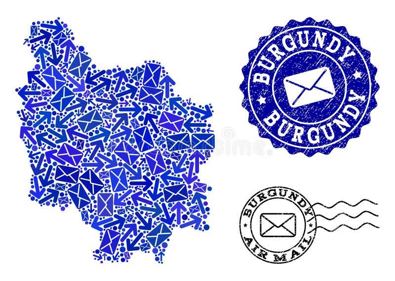 Poczty dostawy kolaż mozaiki mapa Burgundy prowincja i Textured znaczki ilustracji