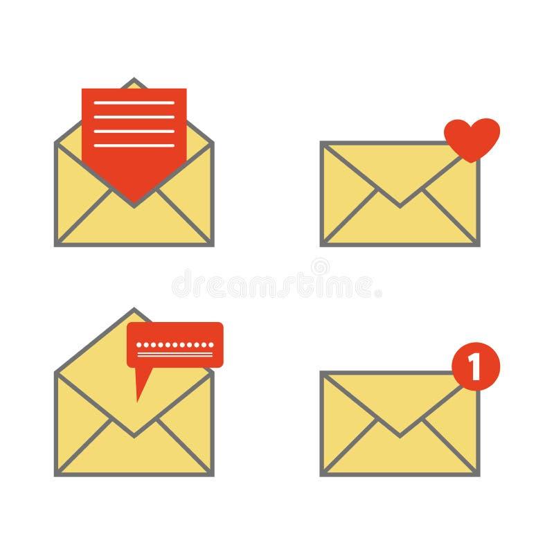 Poczty ikona i ochrony ochrona, Nowy emaila powiadomienie, prywatność symbol Prostego projekta styl również zwrócić corel ilustra royalty ilustracja