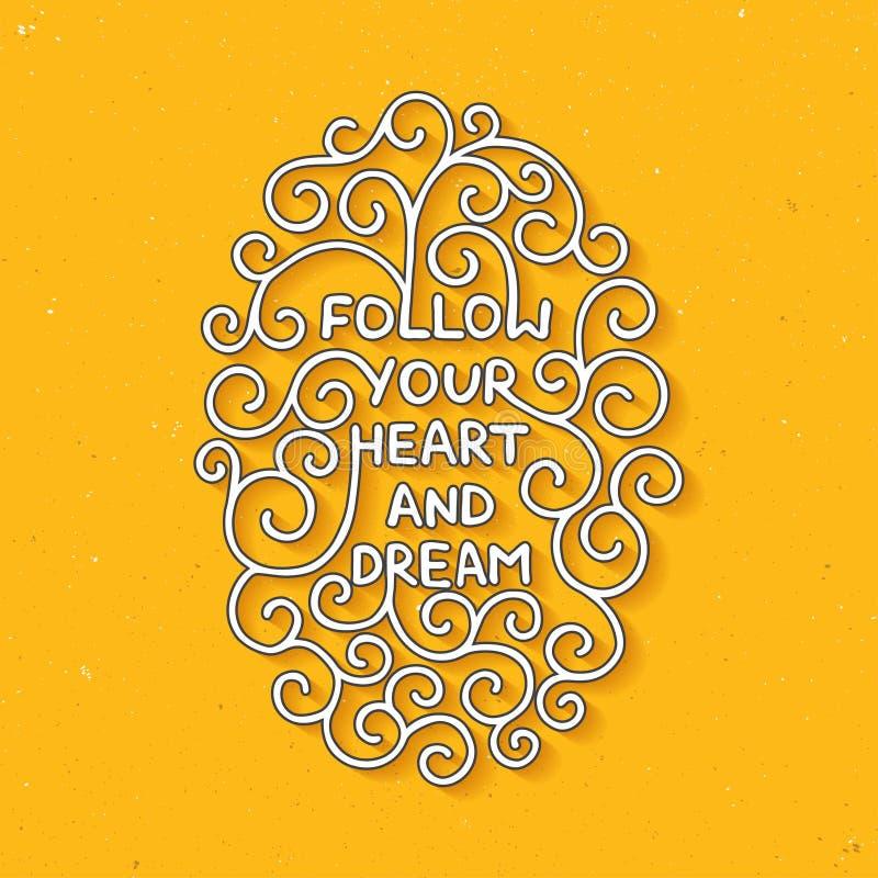 Podąża twój sen na żółtym tle i serce royalty ilustracja