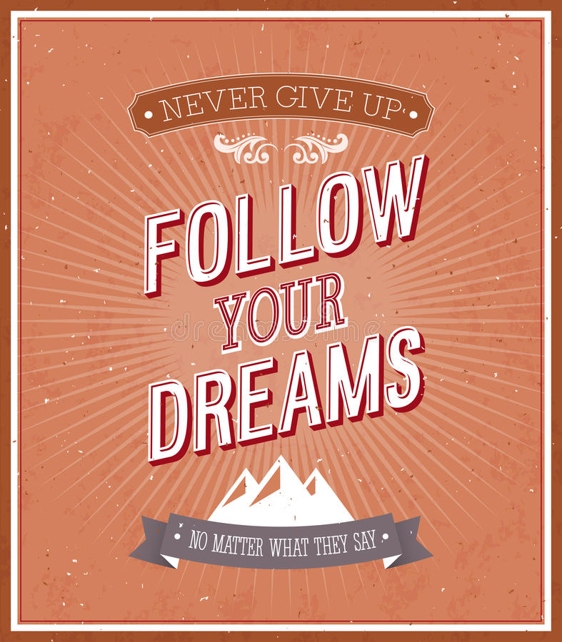 Podąża twój sen typograficznego projekt. ilustracji