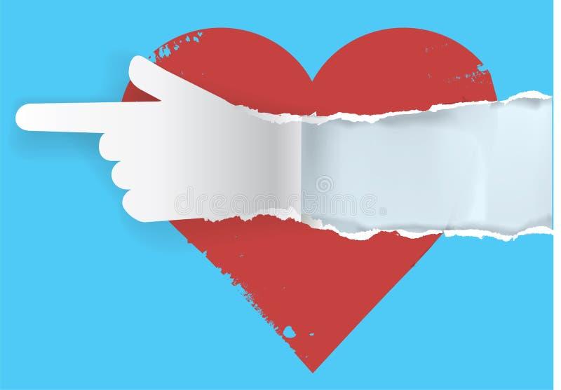 Podąża twój serce - drzejący papierowy pojęcie ilustracja wektor