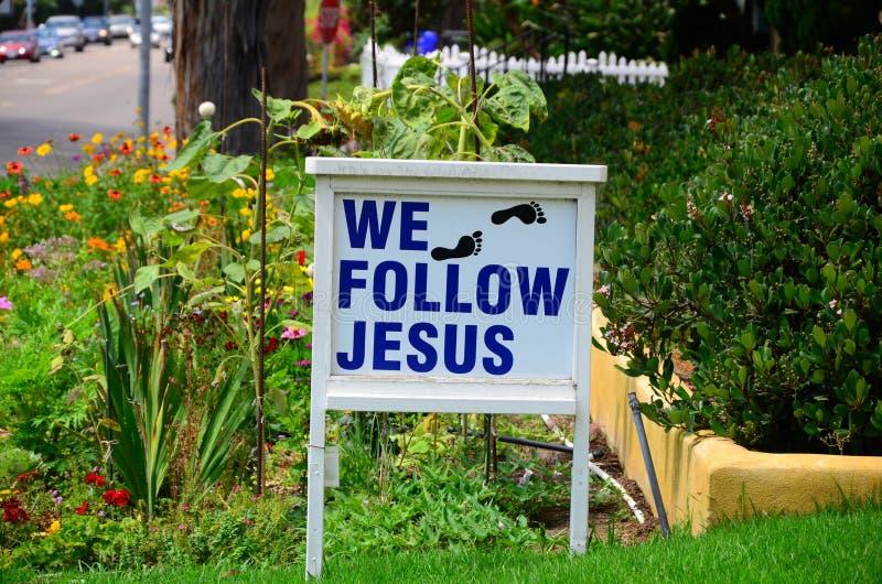Podążamy Jezusowych nożnych druki obrazy royalty free