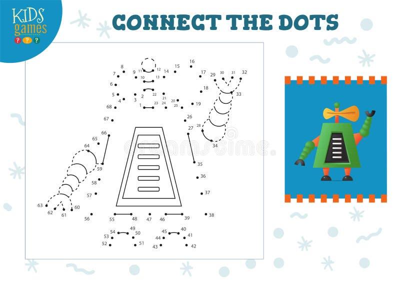 Podłącz ilustrację wektora gier dla dzieci Aktywność rysowania dzieci w przedszkolu ilustracji