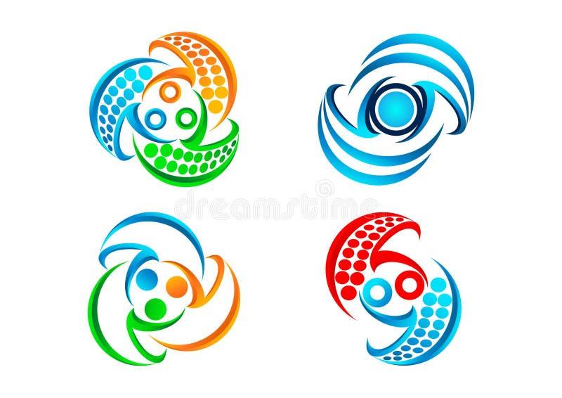 Podłączeniowy logo, balansowa komunikacyjna ikona, nowożytny technologia symbol i pracy zespołowej pojęcia projekt, ilustracja wektor