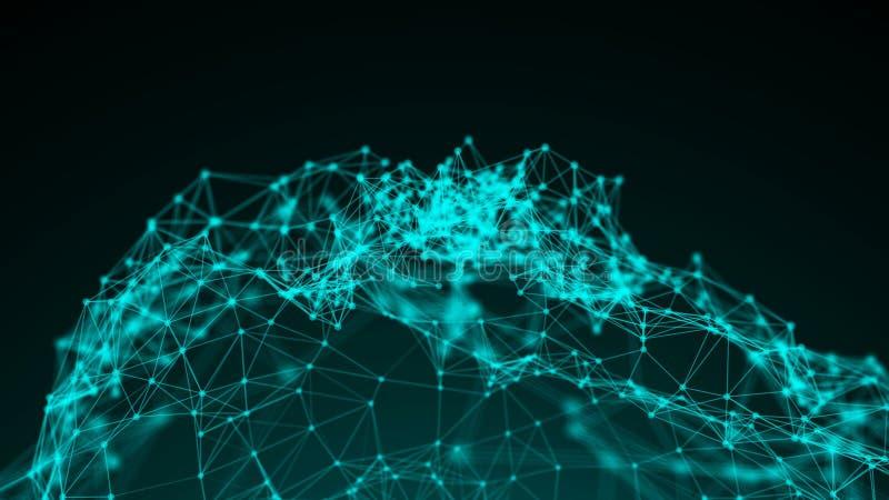 Podłączeniowy struktury, 3d animaci i linie abstrakcjonistyczny tło z kropkami, ilustracja wektor