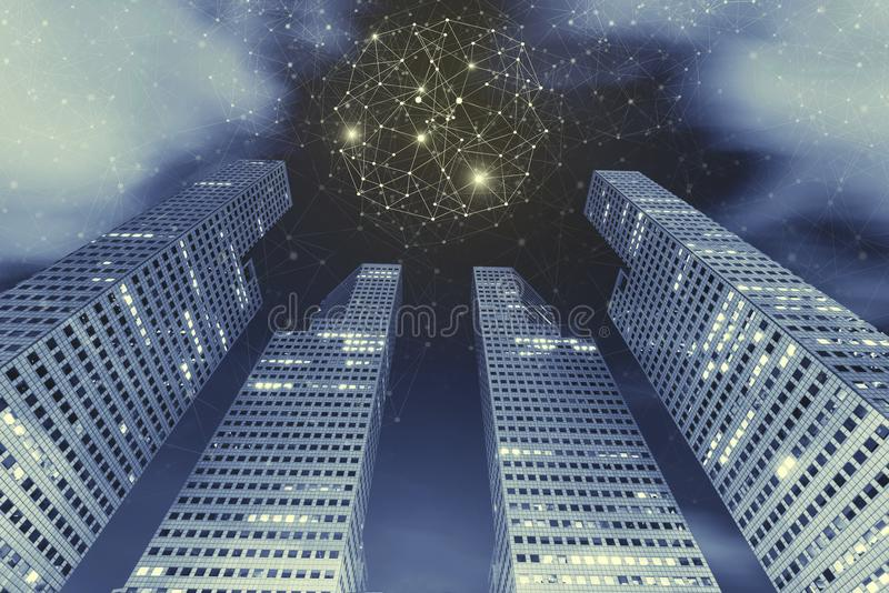 Podłączeniowy technologii tła pojęcie Wysoki nowożytny budynek ja zdjęcie royalty free