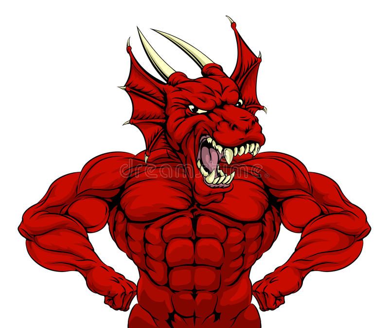 Podła Czerwona smok maskotka ilustracja wektor